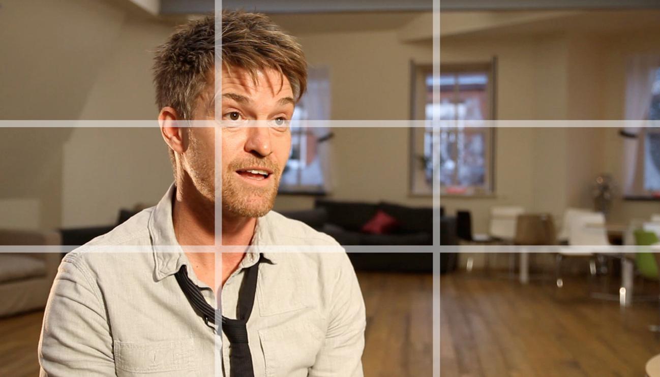 talking head interview frame